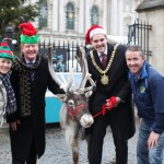 Scruffy the reindeer swiches on Belfast City Christmas Lights along with some celebrities