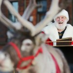 Santa arrived by reindeer and sleigh